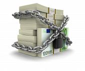 Pile of Euro and lock (clipping path included)