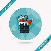 Christmas Gifts Flat Icon With Long Shadow,eps10