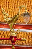 image of lamp post  - Thai traditional beautiful golden swan on street lamp post in Bangkok Thailand - JPG