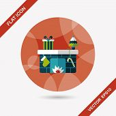 image of cozy hearth  - Christmas Fireplace Flat Icon With Long Shadow - JPG
