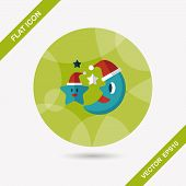 Moon And Star With Christmas Hat Flat Icon With Long Shadow, Eps10