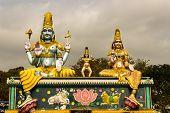 Statue of Lord Mallikaarjuna, Karthikeya and Goddess Bhramarambika at Srisailam, India