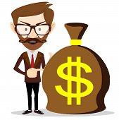 Businessman with a huge bag full of money, vector illustration