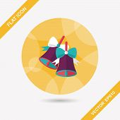 Christmas Bells Flat Icon With Long Shadow,eps10