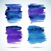Brushstroke banners. Ink blue watercolor spot backgrounds.Template with shadow