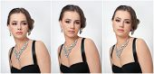 Hairstyle and make up - beautiful female art portrait with beautiful eyes. Elegance. Genuine natural