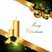 foto of welts  - Merry Christmas background made of gold and green decorations - JPG