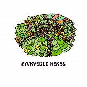 Zentangle element. Ayurvedic herbs