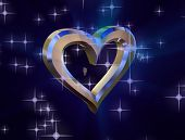 Heart Of Gold On A Blue Background Surrounded By Small Shiny Hearts