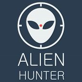 Vector alien hunter on blue background
