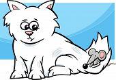 Kitten With Mouse Cartoon