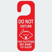 Vector hotel tag do not disturb with baby sleep icon