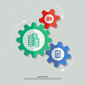 Vector color cogwheels with bar code coins calculator icons