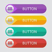 Vector flat buttons with barcode icon
