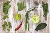 picture of kohlrabi  - Set of green vegetables on white painted wooden background - JPG