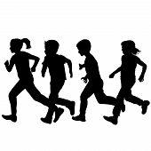 Children Silhouettes Running Over White Background