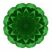 Beautiful Pattern Rosette Of Green Glass