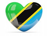 Heart Shaped Icon With Flag Of Tanzania