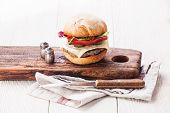 Burger With Meat On White Wooden Background