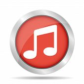 Music Flat Simple Icon, Isolated On Red Background