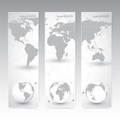 Collection vertical banner design. World Map and globes. Molecule and Communication background. Vect