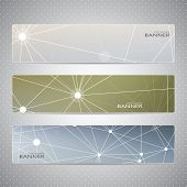 Collection horizontal banners on blurred background . Molecule and communication. Vector illustratio