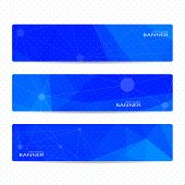 Collection horizontal banners on blue background . Molecule and communication. Vector illustration