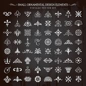 image of classic art  - Set of small ornamental design elements vintage floral swirls and page decoration vector - JPG