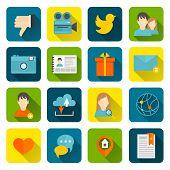 Social icons flat set