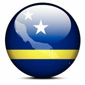 Map On Flag Button Of Curacao