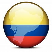 Map On Flag Button Of Republic Of Ecuador