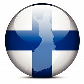 Map On Flag Button Of Republic Of Finland