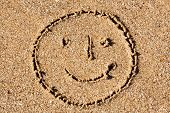 Cheerful smiling smiley In The Sand