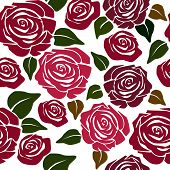 Seamless Flower Pattern with Roses