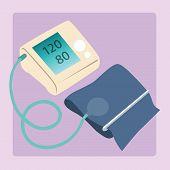 foto of sphygmomanometer  - Sphygmomanometer measures blood pressure readings of 120 80 medical device - JPG