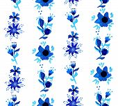 Watercolor Floral Seamless Pattern Background