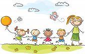 picture of kindergarten  - Happy kids in the kindergarten with their teacher - JPG