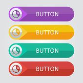 Vector flat buttons with pie graph icon