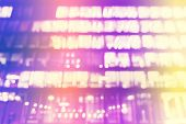 Blurred Lights Of A Modern Building, Abstract Background.