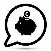 Vector bubble with folder piggy bank icon