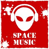 Vector alien space music logo on red background