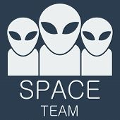 Vector alien team on blue background