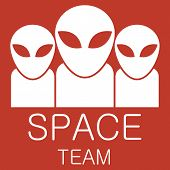 Vector alien team on red background