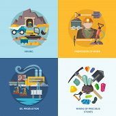 image of earth-mover  - Mining design concept set with profession of miner oil production precious stones flat icons isolated vector illustration - JPG