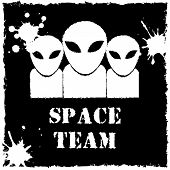 Vector alien space team logo on black background