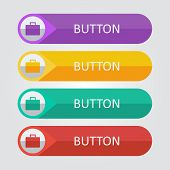 Vector flat buttons with suitcase icon