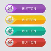 Vector flat buttons with target icon