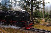 stock photo of locomotive  - a steaming Narrow gauge railway locomotive in Harz - JPG