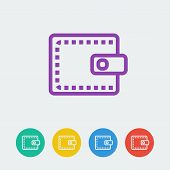 Vector wallet flat circle icon