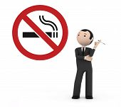 Man smoking in a prohibited place for smoking